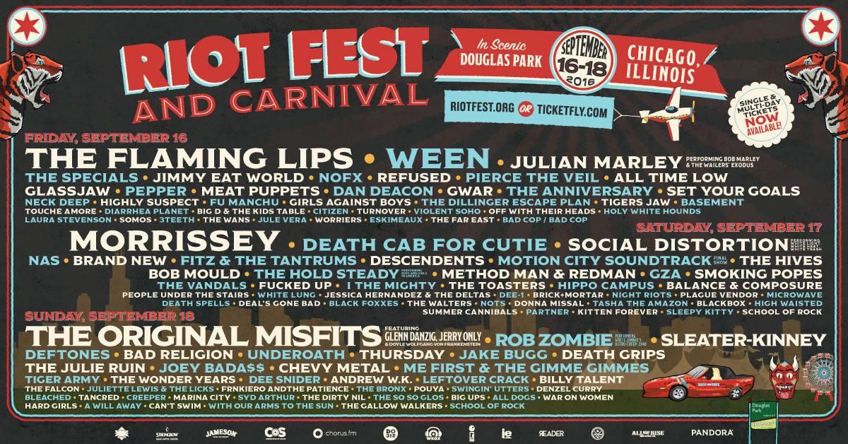 Riot Fest Chicago 2016 – Final Line Up Announced