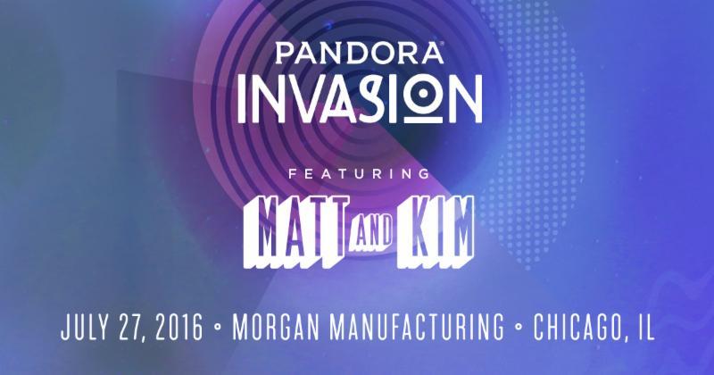 Matt and Kim To Headline Pandora's Third Annual Chicago Invasion