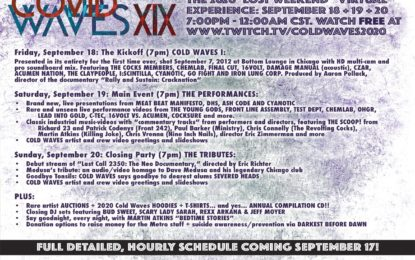 "COVID Concerts: Full Programming Details Now Announced For COLD WAVES ""The Lost Weekend"" Virtual Event Long-Running Industrial Music Festival Goes Online Sept. 18-20"