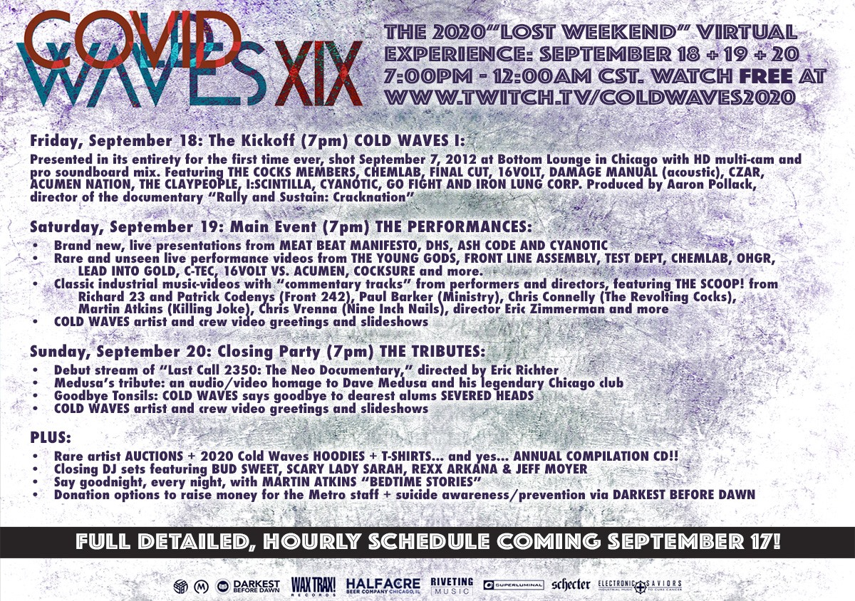 """COVID Concerts: Full Programming Details Now Announced For COLD WAVES """"The Lost Weekend"""" Virtual Event Long-Running Industrial Music Festival Goes Online Sept. 18-20"""