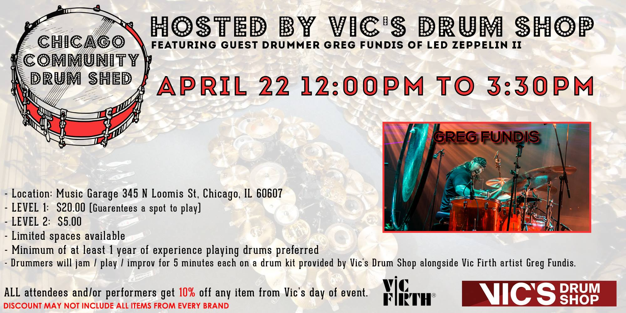 Chicago Community Drum Shed Featuring Led Zeppelin II's Greg Fundis (2nd Session Added!)
